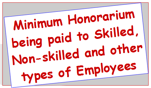 Minimum Honorarium being paid to Skilled, Non-skilled and other types of Employees