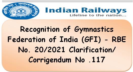 Recognition of Gymnastics Federation of India (GFI) – RBE No. 20/2021 Clarification/Corrigendum No .117