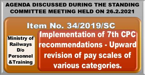 7th CPC recommendations – Upward revision of pay scales of various categories of Indian Railway: Item No. 34/2019/SC Standing Committee Meeting
