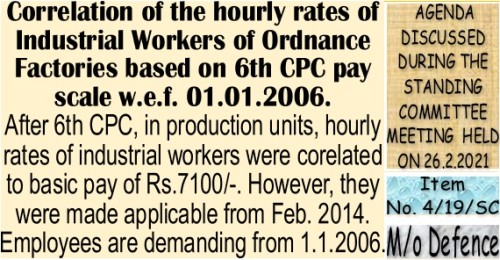 Correlation of the hourly rates of Industrial Workers of Ordnance Factories based on 6th CPC pay scale w.e.f. 01.01.2006: Item No. 8/19/SC Standing Committee Meeting