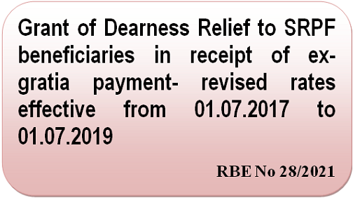 Grant of Dearness Relief to SRPF beneficiaries in receipt of ex-gratia payment- revised rates effective from 01.07.2017 to 01.07.2019