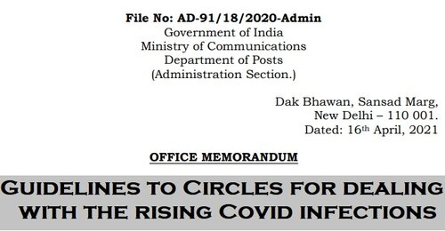 Guidelines to Circles for dealing with the rising Covid infections: Department of Posts