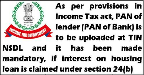 PAN of lender (PAN of Bank) required, if interest on housing loan is claimed under Section 24(b) of Income Tax for FY 2020-21
