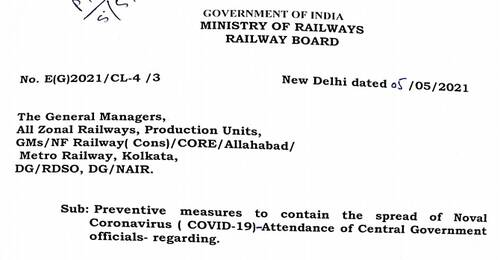 Attendance of Central Govt. Officials – Railway Board Order on Preventive measures to contain the spread of Coronavirus