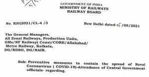 attendance-of-central-govt-officials-railway-board-order