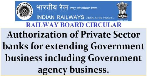 Authorization of Private Sector banks for extending Government business: Railway Board RBA No. 30/2021