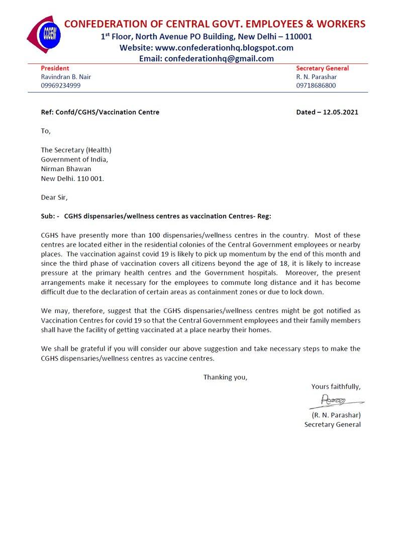 CGHS dispensaries/wellness centres as vaccination Centres: Confederation writes to Secretary (Health)