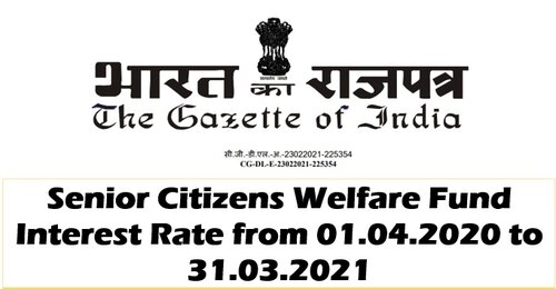 Senior Citizens Welfare Fund: Interest rate 5.81% from 1 April 2020 to 31st March, 2021
