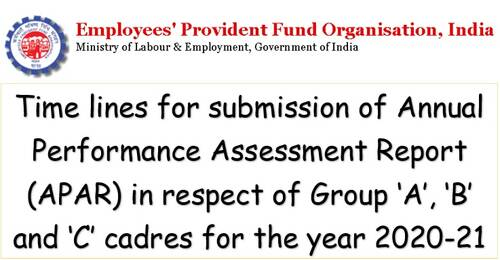 Time lines for submission of APAR for the year 2020-21: EPFO