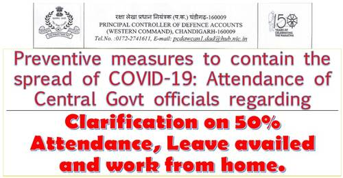 Attendance of Central Govt officials during lockdown: Clarification on 50% Attendance, Leave availed and work from home.