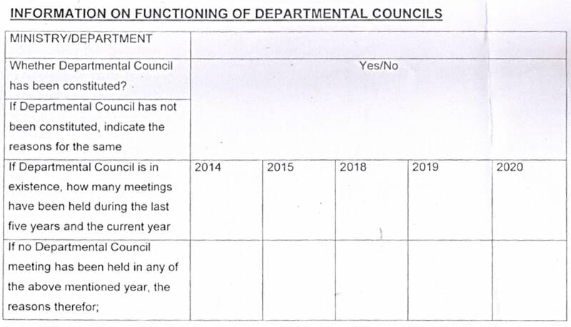 Functioning of Departmental Councils: DoPT OM June 2021 seeks information from Ministry/Departments about existence and meeting details