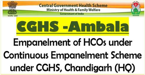 Sri Onkar Eye and ENT Care Centre: Empanelment of HCOs under CGHS Ambala for Exclusive Eye Care