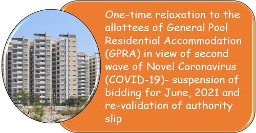 One Time Relaxation to the allottees of GPRA – Suspension of bidding for June, 2021 and re-validation of authority slip.