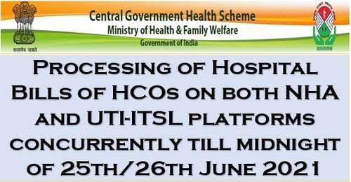 Processing of Hospital Bills of HCOs empanelled under CGHS on NHA-IT Platform: CGHS Order dated 16.06.2021