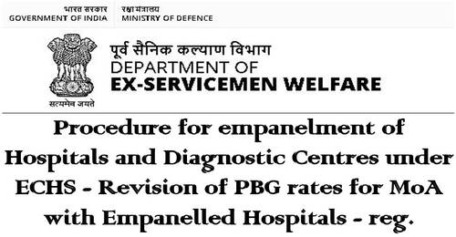 Revision of PBG rates for MoA with Empanelled Hospitals under ECHS: D/o Ex-Servicemen Welfare
