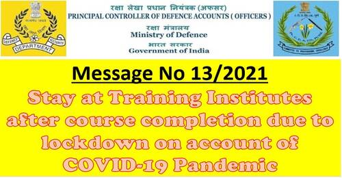 Stay at Training Institutes after course completion due to lockdown
