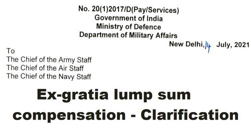 Ex-gratia lump sum compensation to the next of kin of the Defence Service personnel- Clarification