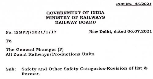 Safety and Other Safety Categories of Indian Railways – Revision of List & Format: RBE No. 45/2021