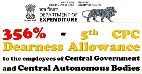 5th CPC Dearness Allowance from July-2021 @ 356% for CABs employees: Fin Min Order