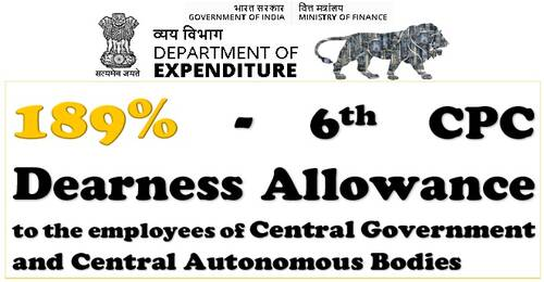 6th CPC Dearness Allowance from July-2021 @ 189% for CABs employees: Fin Min Order