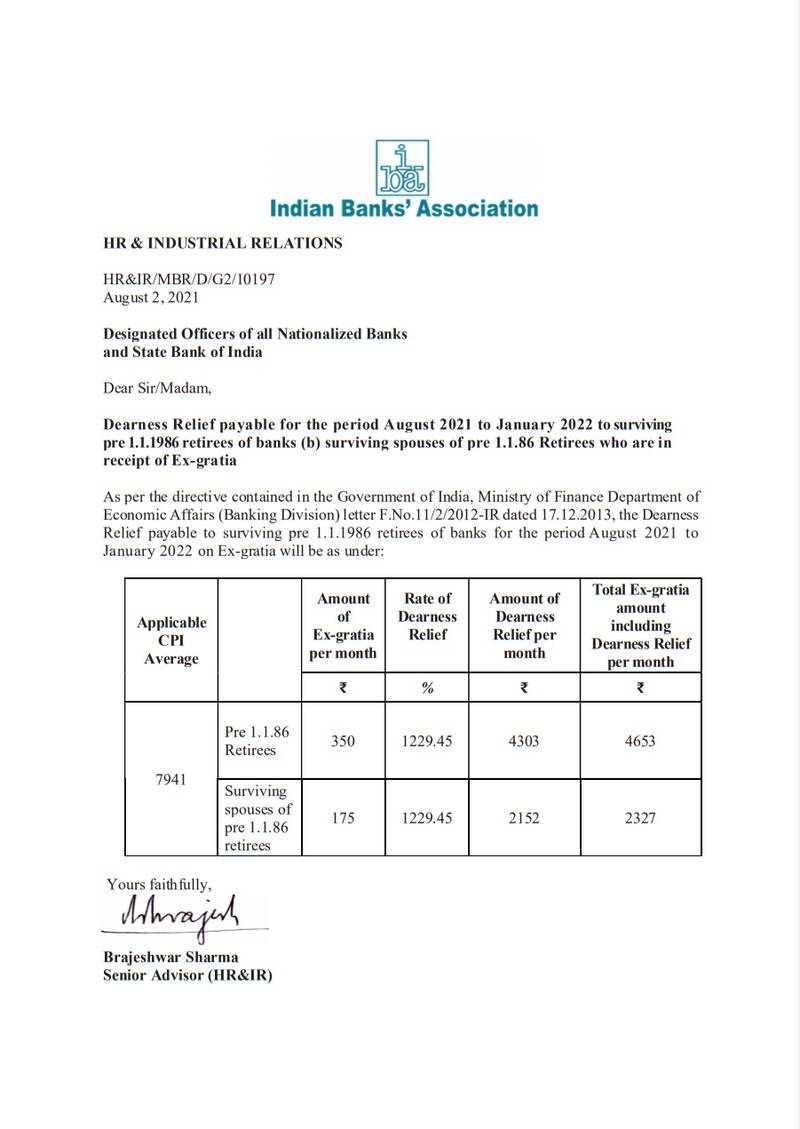 Dearness Relief from Aug 2021 to Jan 2022 to Pre 1986 Bank retirees