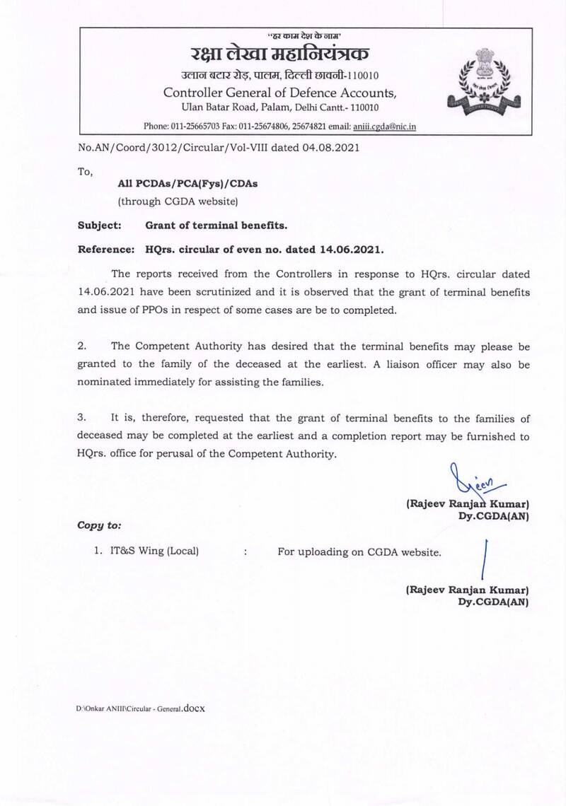 Grant of terminal benefits of the deceased: CGDA orders to nominate a liaison officer for assisting the families