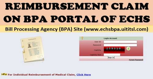 Reimbursement Module self login and upload of individual reimbursement claim: ECHS