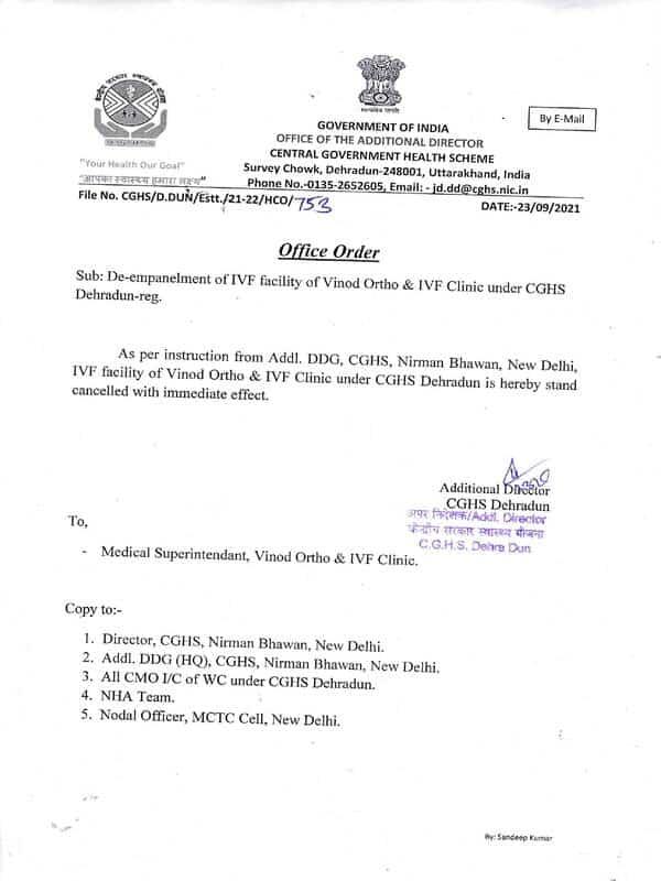 De-empanelment of IVF facility of Vinod Ortho & IVF Clinic under CGHS Dehradun