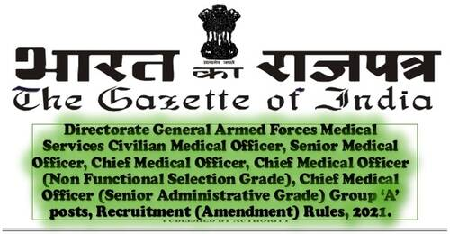 Directorate General Armed Forces Medical Services, Group 'A' posts, Recruitment (Amendment) Rules, 2021.