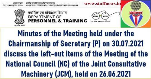Minutes of the Meeting held on 30.07.2021 discuss the left-out items of the Meeting of the National Council of the JCM