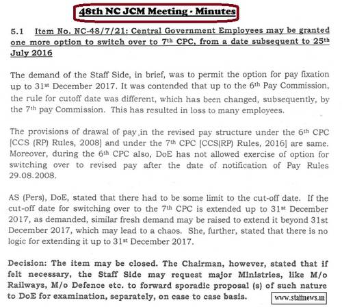 One more option to switch over to 7th CPC, from a date subsequent to 25th July 2016: Minutes of 48th NC JCM Meeting