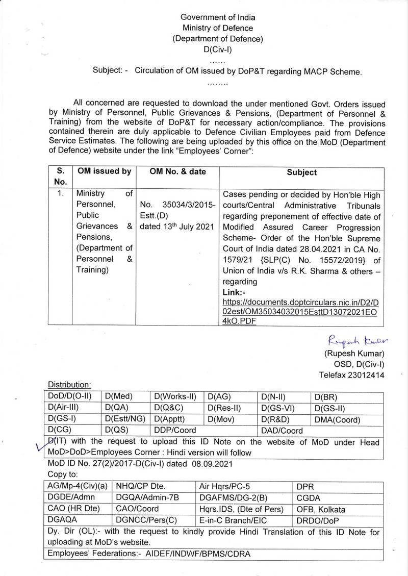 Preponement of effective date of MACP w.e.f. 01.01.2006 as per Supreme Court Order: MoD Order for Defence Civilian Employees