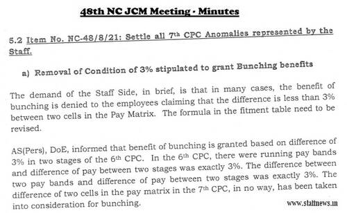 Removal of Condition of 3% stipulated to grant Bunching benefits – 7th CPC Anomalies: Minutes of 48th NC JCM Meeting