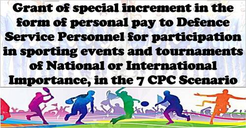 7th CPC Sports Incentive in the form of Personal Pay to Defence Service Personnel