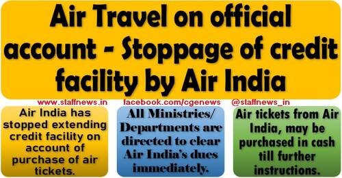 Air Travel on official account (Tour/LTC) – Stoppage of credit facility by Air India: FinMin OM dated 27.10.2021