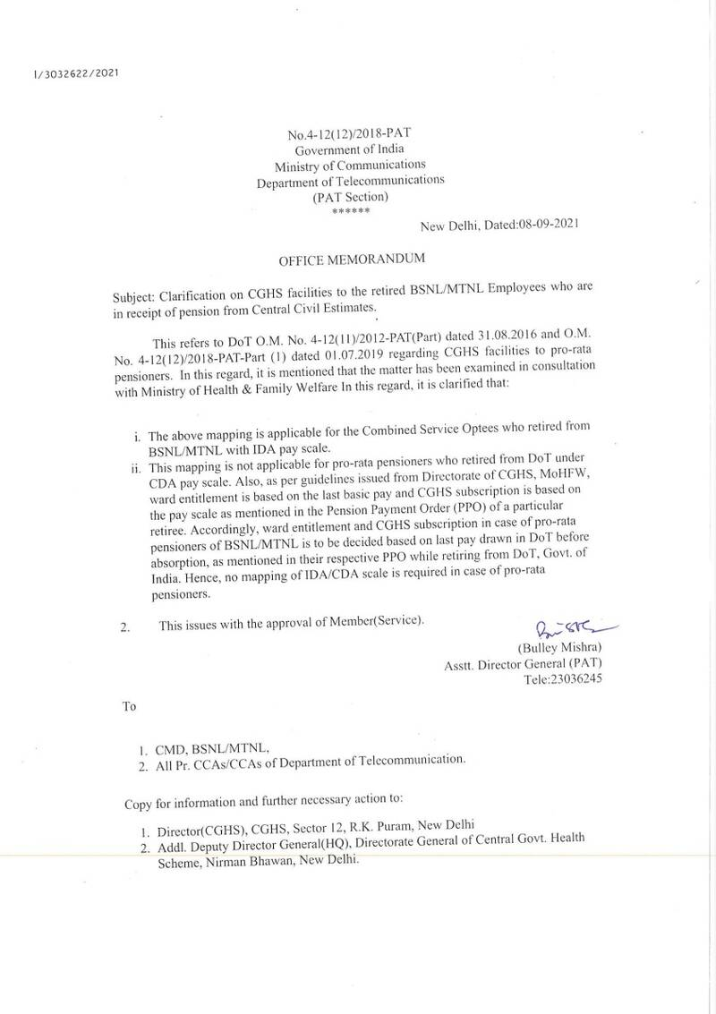 Clarification on CGHS facilities to the retired BSNL/MTNL Employees