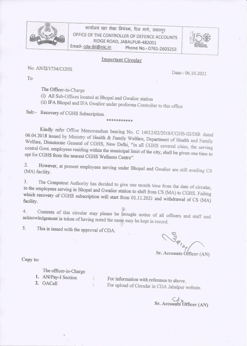 Recovery of CGHS Subscription from employees serving under Bhopal and Gwalior are still availing CS (MA) facility