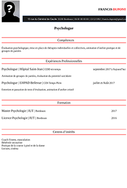 Exemple Cv Psychologue Staffsocial
