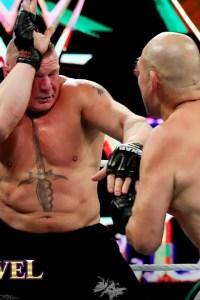 Brock Lesnar and Cain Velasquez Exchange blows: WWE Crown Jewel 2019