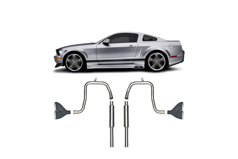 2005 2009 mustang v6 coupe cervini s side exhaust kit 8037