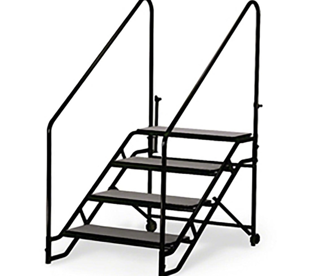Midwest Folding St4 Fixed Stairs For 40 H Mobilestage Stagedrop | Portable Stairs With Handrail | Chair | Plastic Portable | Camper | Wall Mounted | Ladder