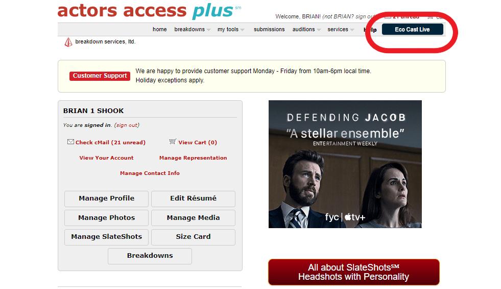 actors access ECO Cast Live