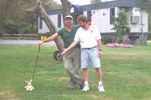 Me and John playing some golf. I'm on the left