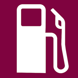 A white image of a gas pump on a maroon background.