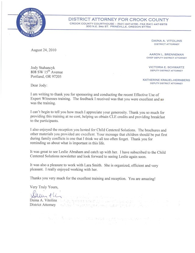 """A Letter from the Crook County DA about Jody's CLE presentation, """"Effective Use of Expert Witnesses"""""""