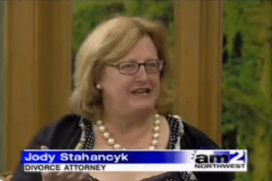 """Jody Stahancyk, President and Senior Shareholder of SKJ&H was a featured guest on KATU's AM Northwest, about the topic """"How to Avoid the Pitfalls of Divorce."""" January 25, 2006 on KATU (used by permission)."""