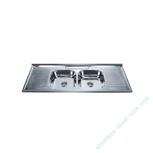 double bowl with drainboard stainless
