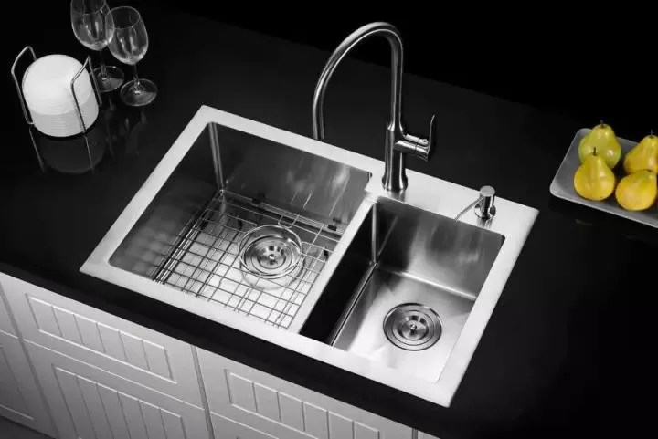 round double bowl undermount sink with drainboard sink brushed surface australia style