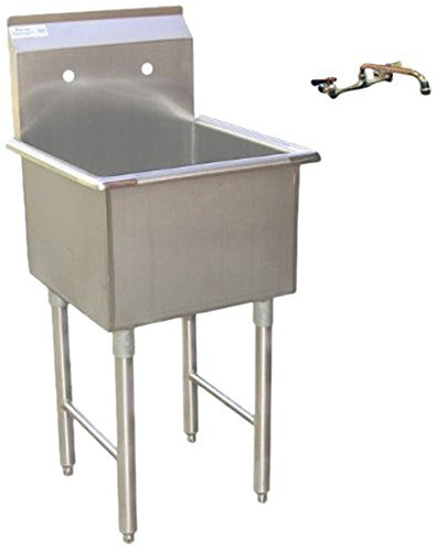 Apex DuraSteel 1 Compartment Stainless Steel Commercial Food Preparation  Sink With 8u2033 No Lead Faucet, 18 X 18