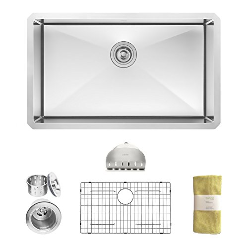 Zuhne 30 Inch Undermount Single Bowl 16 Gauge Stainless Steel Kitchen Sink